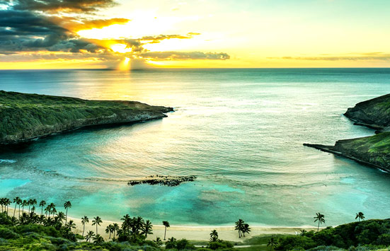 Oahu bay at sunset